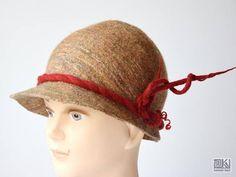 Beige and red Cinamon hat Wool felt hat Cloche felt hat