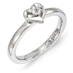 Stackable Expressions Sterling Silver White Topaz Ring. Sale Priced At $35.  Sizes 5-6-7-8-9-10.