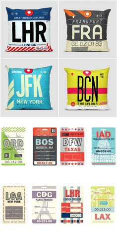 DIY or Buy: Airport Baggage Tag Pillows from Airportag and Airport Code Luggage Tags from Bespoke Custom Gifts. Don't see your favorit...