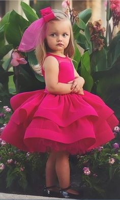Lovely fushia Princess Flower Girls Dresses for Wedding Ruffle Satin Tulle Knee Length firls Pageant dresses Inexpensive Wedding Dresses, Affordable Bridesmaid Dresses, Little Girl Dresses, Girls Dresses, Flower Girl Dresses, Ball Dresses, Party Dresses, Baby Pageant Dresses, Evening Dresses