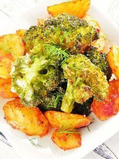 Sio-smutki: Pieczone pikantne ziemniaki i czosnkowe brokuły