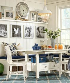 Casual Coastal Banquette Dining Area - Pottery Barn