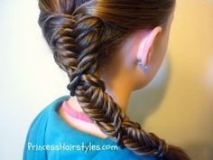 18 best I suck at braiding  aka diva child hair  images on Pinterest     Side Braid  Twist Wrapped Fishtail Hairstyle