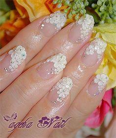 www.weddbook.com everything about wedding ♥ White flowers for a bride ♥ Beautiful bride nail art & design #weddbook #wedding #nail