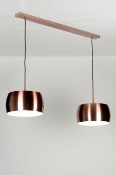 Hanglamp 72041 modern eigentijds klassiek design industrie look koper roodkoper aluminium rond langwerpig Color Cobre, Modern Interior, Retro, Ceiling Lights, Lighting, Furniture, Home Decor, Interior Lighting, Hanging Lamps
