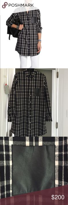 Maje black flannel long shirt, size 1 Comfort hipster addition to any wardrobe.  French label Maje black flannel tunic shirt with real black sheep leather pocket detailing.  Front button closure.  French size 1- fits 2-4. Maje Tops