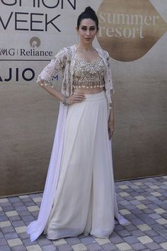 27 Bollywood Celebs Who Slayed At The Lakme Fashion Week 2017 As Showstoppers Karisma Kapoor for Arpita Mehta. 27 Bollywood Celebs Who Slayed At The… Pakistani Dresses, Indian Dresses, Indian Outfits, Western Outfits, Indian Designer Outfits, Designer Dresses, Indian Designers, Fashion Designers, Lakme Fashion Week 2017