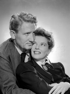 Spencer Tracy and Katharine Hepburn ~ Woman of the Year Keeper of the Flame Without Love The Sea of Grass State of the Union Adam's Rib Desk Set Guess Who's Coming to Dinner - wearing Joseff Hollywood Jewelry Turner Classic Movies, Classic Movie Stars, Classic Films, Old Hollywood Stars, Hollywood Icons, Classic Hollywood, Hollywood Jewelry, Hollywood Glamour, Movie Couples