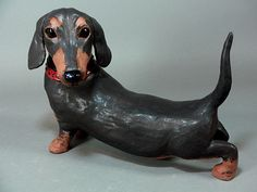 Dachshund Dog Ceramic Sculpture, Dudley, by Cathy Meincer