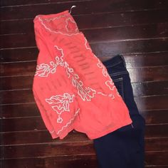 Free People Orange 3/4 sleeve top (medium) with embroidery detail. Size Medium. Hardly worn. Great condition. Free People Tops Blouses