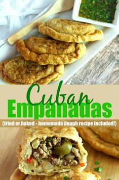 Cuban Beef Empanadas are fried (or baked) hand pies filled with a spiced ground beef mixture with sliced green olives and served with a chimichurri sauce. Homemade dough recipe is included! Mexican Food Recipes, Whole Food Recipes, Cooking Recipes, Ethnic Recipes, African Recipes, Hawaiian Recipes, Mexican Cooking, Cuban Empanadas Recipe, Homemade Dough Recipe