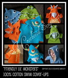"Crochet Pattern: ""Friendly Lil' Monsters"" Swim Cover-Up, 100% Cotton Beach Cover Sizes 0 - 6 months thru 10 years, Permission to Sell Items"
