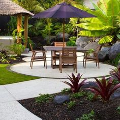 Tropical delight on the shore – Peter Fry Tropical Garden Design, Tropical Backyard, Tropical Landscaping, Landscaping With Rocks, Tropical Houses, Front Yard Landscaping, Tropical Plants, Landscape Design Plans, Cool Landscapes