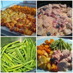 Gewone en zoete aardappel uit de oven. Varkenshaas met slagroom, sherry, speltbloem, rode ui, spekjes, zwarte olijven en gedroogde tomaatjes. Verse sperziebonen en dat alles op één bord. Heerlijk!  #datetenwevandaag
