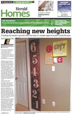 Reaching new heights / DIY growth chart ruler [ My Handmade Home ] The Chronicle Herald (May 24, 2014)