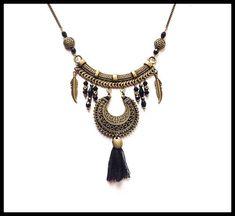 Collier plastron boho chic bronze et noir collier fêtes