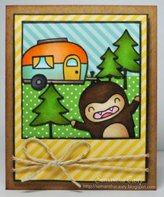 Lawn Fawn - Happy Trails, Yeti Set Go, Say Cheese, Let's Polka 6x6 paper, Gold Sparkle Lawn Trimmings _ cute card with a photo-bombing yeti by Samantha C. for Lawnscaping Challenge: Happy Camper {pin of the day}