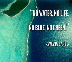 """""""No Water, No Life.  No Blue, No Green."""" Sylvia Earle; sylviaquot.png"""