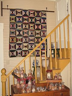 this is an old log cabin made from silks Decorating Your Home, Interior Decorating, Decorating Ideas, Quilt Display, Civil War Quilts, Country Quilts, Penny Rugs, Sewing Studio, Quilt Making