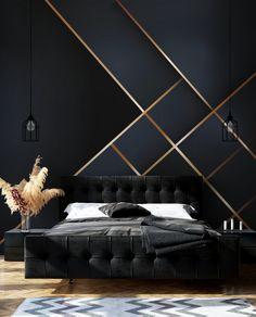 Bedroom Bed Design, Modern Bedroom Design, Home Room Design, Bedroom Wall, Home Interior Design, Bedroom Decor, Black Room Design, Wallpaper Design For Bedroom, Luxury Wallpaper