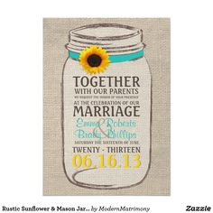 Rustic Sunflower & Mason Jar Wedding Invitation Perfect for a rustic, vintage, or country themed wedding. Features a burlap background with rustic mason jar and sunflower accent to coordinate with your wedding theme.