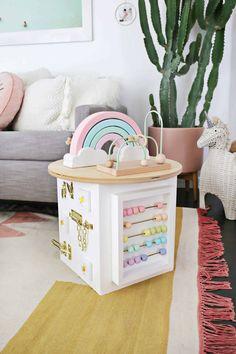 Toddler Activity Center DIY! - A Beautiful Mess Baby Sensory Play, Baby Play, Baby Sensory Board, Toddler Fun, Toddler Toys, Infant Activities, Activities For Kids, Indoor Activities, Baby Toys