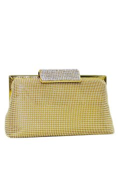 "[Picked from Rent The Runway] Gold mesh soft clutch with a crystal entrusted top clasp. Hidden chain strap has a 9″ drop. 7.5""L x 4.5""H x 1.5""D. $40.00 Buy It Now ! Rent The Runway, Crystals, Gold, Bags, Jewelry, Party, Wedding, Handbags, Valentines Day Weddings"