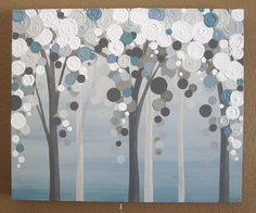 $160.  Blue Grey Tree Painting Original Textured by MurrayDesignShop.  20x24
