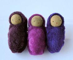 Small bunting dolls waldorf  ornament brown skin by fairyshadow, $9.00