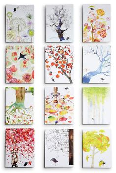 Twelve Months Set watercolor cards by @Masha D'yans Design #watercolormischief #greetingcards #illustration #calendar #year #stationery #birds #treebirds #treebirdsmonthcards