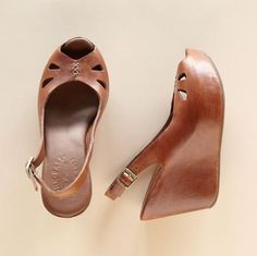 Beautiful leather slingback wedges.