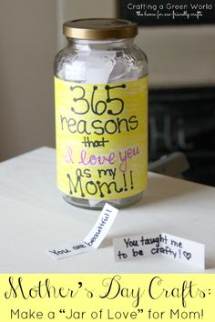 "Mother's Day Crafts: Make a ""Jar of Love"" for Mom! Great last minute gift for Mom"