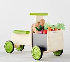 Pottery Barn Kids Farmer's Market Delivery Bike Ride-on Pottery Barn Kids, Pretend Food, Pretend Play, Wooden Train, Ride On Toys, Organic Fruit, Toddler Gifts, Farmers Market, Wooden Toys