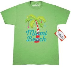 c55a8a4985d9c6 Inktastic Miami Beach Christmas T-Shirt Florida Palm Tree Decorated Cute  Holiday