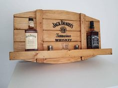 Items similar to jack daniels bar shelf on etsy - For lovers of whiskey or bourbon, these bar shelves are a must for your home bar or hobby room. Woodworking Projects Diy, Diy Wood Projects, Wood Crafts, Woodworking Plans, Man Cave Desk, Man Cave Home Bar, Whisky Regal, Jack Daniels Bottle, Bar Shelves