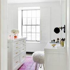 White Walk In Closet with Pink Overdyed Rug