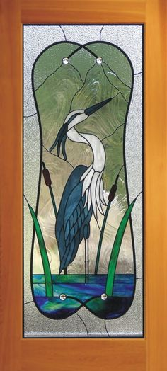 Heron Door 1001 Stained glass heron reeds and water with textured clear glass as the background. Stained Glass Door, Stained Glass Birds, Stained Glass Designs, Stained Glass Panels, Stained Glass Projects, Stained Glass Patterns, Fused Glass, Blown Glass, Broken Glass Art