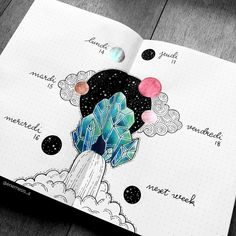 ▪️WEEKLY▪️ If crystals were the main theme of January and well as I progressed in my drawing ideas, I turned to a sub-theme on the Bullet Journal Layout, Bullet Journal Inspiration, Journal Ideas, The Notebook Quotes, Diy And Crafts, Paper Crafts, Main Theme, Cover Pages, Happy Planner