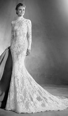 Try this dignified, feminine mermaid wedding dress with Victorian inspiration. Long sleeve lace wedding dress from Atelier Pronovias. Available at Schaffer's in Scottsdale, Arizona. Wedding Dress Info: Atelier Pronovias – STYLE ELVIRA.