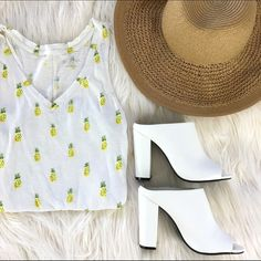 """Pineapple Top Who doesn't love pineapples?! This cute top is perfect for summer.  Overall good condition.  100% cotton, Bust (underarm to underarm): 14"""" Length (from top of strap to bottom): 25"""" Merona Tops Tank Tops"""