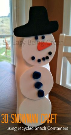 Snowman 3-D Craft with Recycled Snack Container