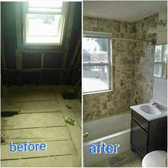 Bathroom remodel before and after  BPKELCO- Boston area