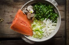Salmon and Shiitake Hot Pot --> super easy, super healthy dinner for 4.