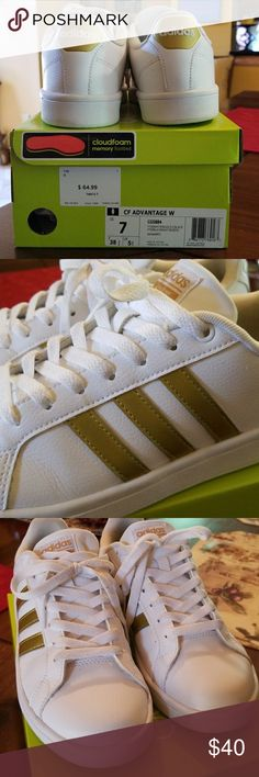 Adidas Gold Cloudfoam Sneakers White with gold accents adidasNEO super comfy sneakers with Cloudfoam memory footbed. Worn a few times, inside a little dirty as well as one of the shoelaces. ON TREND RIGHT NOW adidas Shoes Sneakers