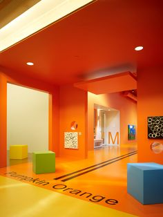 Gallery of Chesapeake Child Development Center / Elliott + Associates Architects – 11 Chesapeake Child Development Center, Oklahoma City, OK, USA von Elliott + Associates Architects Learning Spaces, Learning Centers, Oklahoma City, Kindergarten Design, Clinic Design, Orange Design, Kid Spaces, Child Development, School Design