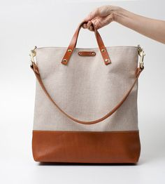 Large Canvas Leather Tote Bag with italian by SiroganeLeatherWorks, $159.00
