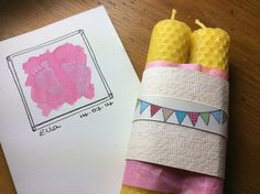natural beeswax rolled pillar candles to celebrate newborn baby