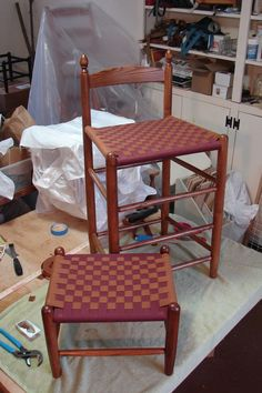 A Tappan Bar Stool in a shaker maple finish, with a cranberry and butternut checkerboard weave--accompanied by a matching foot stool Foot Stools, Bar Stools, Pub Design, Simple Gifts, Weave, Patterns, Chair, Bar Stool Sports, Block Prints