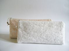 Ivory Lace Wedding Clutch Peach Lace Bridal Clutch by PersaBags