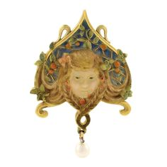 Louis Aucoc Art Nouveau  Diamond, Gold, Enamel, and Pearl Brooch | From a unique collection of vintage brooches at http://www.1stdibs.com/jewelry/brooches/brooches/